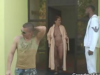 Two dudes bang nasty granny
